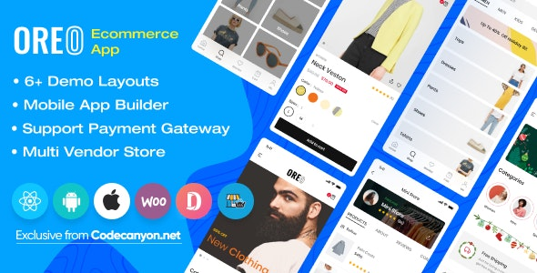 Download Oreo Fashion v2.1.2 - Full React Native App for Woocommerce Free / Nulled