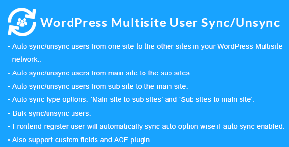 Download WordPress Multisite User Sync/Unsync v1.4.0 Free / Nulled