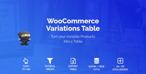 Download WooCommerce Variations Table v1.23.2 Free / Nulled