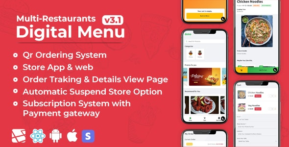 Download Chef v3.1 - Multi-restaurant Saas - Contact less Digital Menu Admin Panel with - React Native App Free / Nulled
