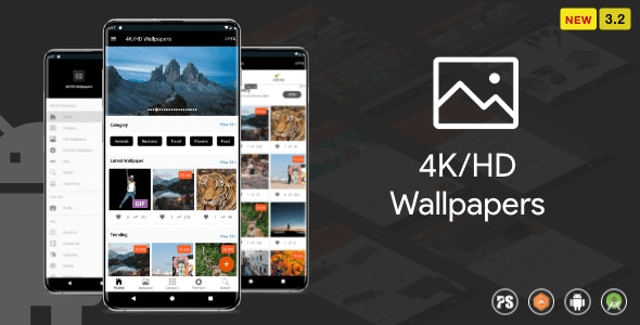 Download 4K/HD Wallpaper Android App v3.2 - ( Auto Shuffle + Gif + Live + Admob + Firebase Noti + PHP Backend) Free / Nulled