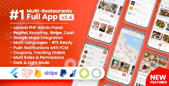 Download Food Delivery Flutter + PHP Laravel Admin Panel v2.4.1 Free / Nulled