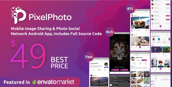 Download PixelPhoto Android v1.9 - Mobile Image Sharing & Photo Social Network Application Free / Nulled