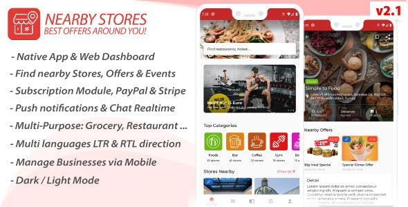 Download Nearby Stores Android v2.1 - Offers, Events, Multi-Purpose, Restaurant, Market - Subscription & WEB Panel Free / Nulled