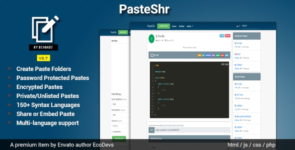 Download PasteShr v2.7 - Text Hosting & Sharing Script Free / Nulled