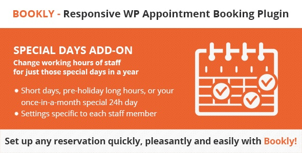 Download Bookly Special Days (Add-on) v3.8 Free / Nulled