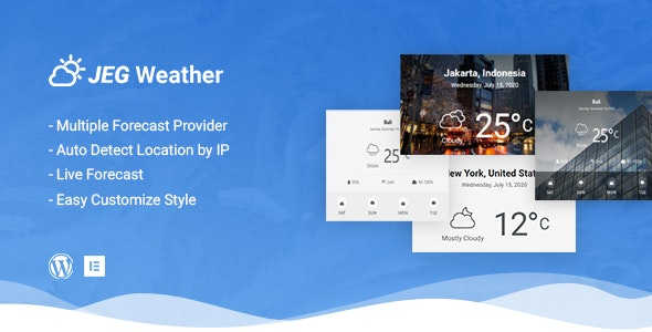 Download Jeg Weather v1.0.0 - Forecast WordPress Plugin - Add Ons for Elementor and WPBakery Page Builder Free / Nulled