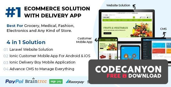 Download Best Ecommerce Solution with Delivery App For Grocery, Food, Pharmacy, Any Stores / Laravel + IONIC5 v1.0.6 (Nulled) Free / Nulled