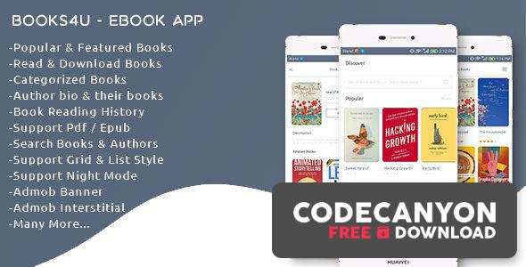 Download Books4u v1.0 – Android Ebook App + Admin panel Free / Nulled