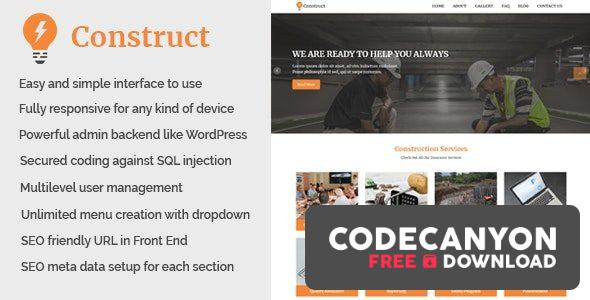 Download Construct v1.1 – Building and Construction Website CMS Free / Nulled