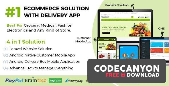 Download Ecommerce Solution with Delivery App v1.6 – For Grocery, Food, Pharmacy, Any Store / Laravel + Android Apps (Nulled) Free / Nulled