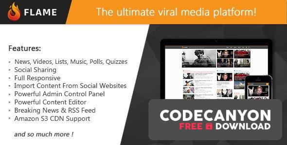 Download Flame v1.3 – News, Viral Lists, Quizzes, Videos, Polls and Music (Nulled) Free / Nulled