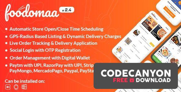 Download Foodomaa v2.4.1 – Multi-restaurant Food Ordering, Restaurant Management and Delivery Application (Nulled) Free / Nulled