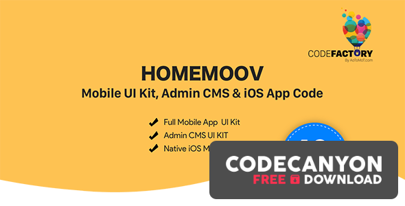 Download HOMEMOOV v1.0 – Mobile UI Kit, Admin CMS & iOS App Code Free / Nulled
