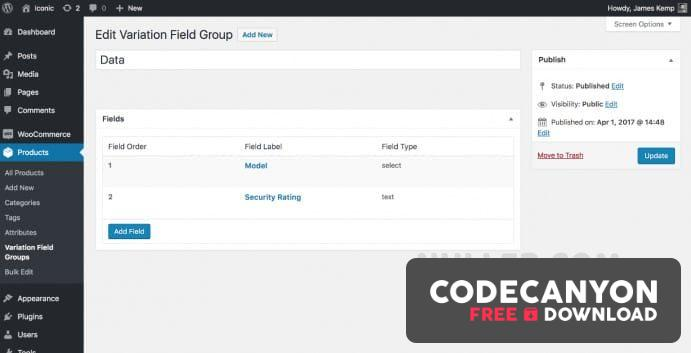 Download Iconic WooCommerce Custom Fields for Variations v1.2.4 (Nulled) Free / Nulled