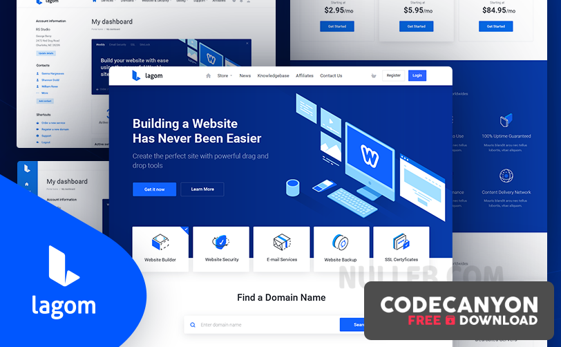 Download Lagom WHMCS Theme v1.5.2 (Nulled) Free / Nulled