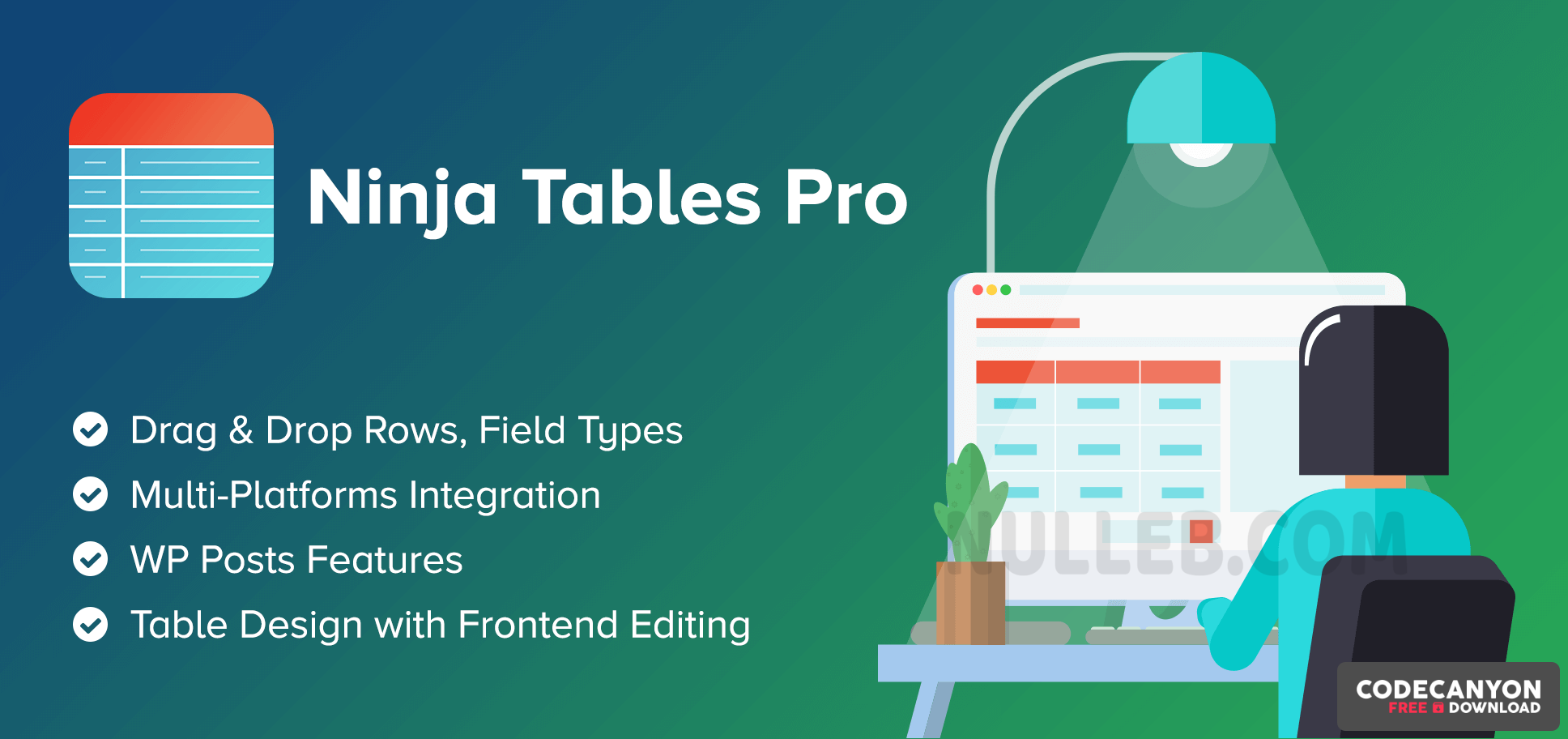 Download Ninja Tables Pro v4.1.3 – The Fastest and Most Diverse WP DataTables Plugin (Nulled) Free / Nulled