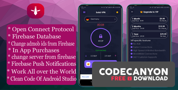 Download Solid VPN v1.0.0 – With Firebase Database And OPEN CONNECT PROTOCOL Free / Nulled