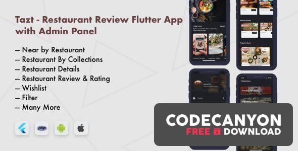 Download Tazt v1.0.0 – Restaurant Review Flutter App with Admin Panel Free / Nulled