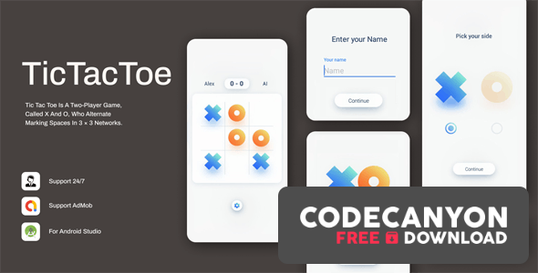 Download Tic Tac Toe v1.0.3 – Simple & Minimal Game Free / Nulled