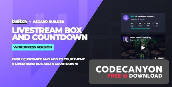 Download Twitch LiveStream Box and Countdown WordPress Plugin v1.1.1 Free / Nulled