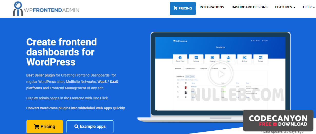 Download WP Frontend Admin Premium v1.11.0 (Nulled) Free / Nulled
