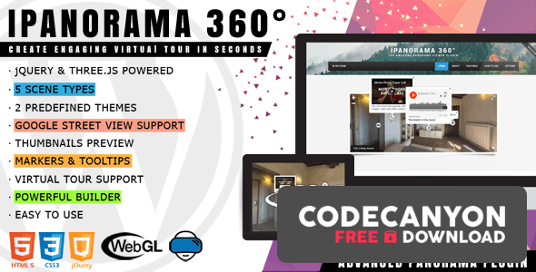 Download iPanorama 360° v1.6.5 – Virtual Tour Builder for WordPress Free / Nulled
