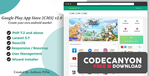 Download Google Play App Store [CMS] 2.0 Free / Nulled