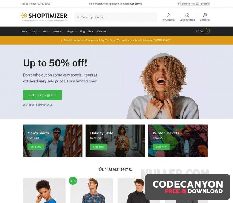 Download Shoptimizer v2.3.5 – The Fastest WooCommerce Theme Free / Nulled